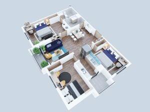 Thiết kế căn hộ 93m2 tại dự án Geleximco Southern Star Giải Phóng